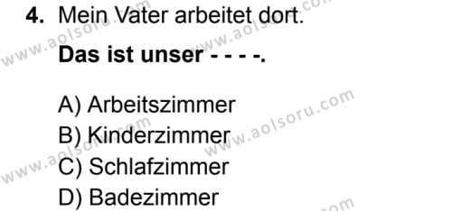 Almanca 3 Dersi 2019 - 2020 Yılı 2. Dönem Sınav Soruları 4. Soru
