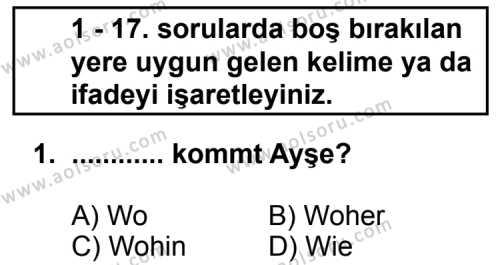 Almanca 4 Dersi 2011 - 2012 Yılı Ek Sınav Soruları 1. Soru