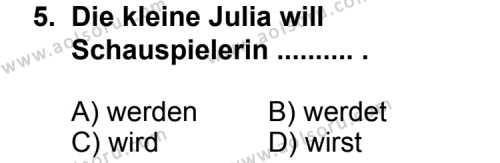 Almanca 4 Dersi 2012-2013 Yılı 1. Dönem Sınavı 5. Soru