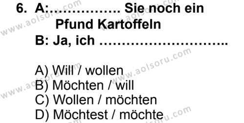 Almanca 4 Dersi 2013-2014 Yılı 1. Dönem Sınavı 6. Soru