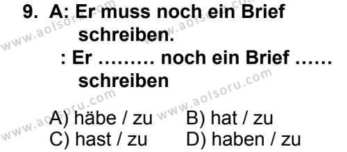 Almanca 4 Dersi 2013-2014 Yılı 1. Dönem Sınavı 9. Soru