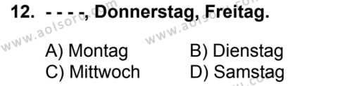 Almanca 4 Dersi 2017-2018 Yılı 1. Dönem Sınavı 12. Soru