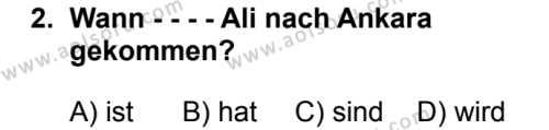 Almanca 4 Dersi 2019 - 2020 Yılı 1. Dönem Sınav Soruları 2. Soru