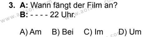 Almanca 4 Dersi 2019 - 2020 Yılı 1. Dönem Sınav Soruları 3. Soru