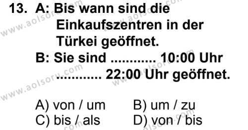 Almanca 5 Dersi 2011-2012 Yılı 1. Dönem Sınavı 13. Soru