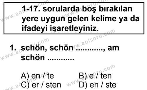 Almanca 5 Dersi 2013-2014 Yılı 1. Dönem Sınavı 1. Soru