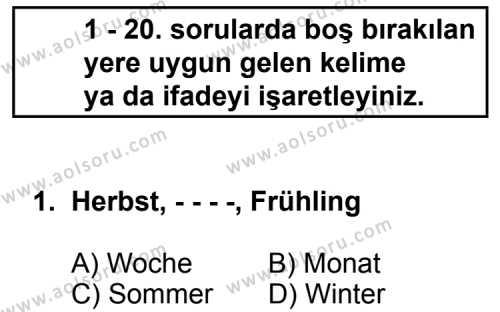 Almanca 5 Dersi 2014 - 2015 Yılı Ek Sınav Soruları 1. Soru