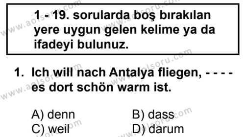 Almanca 5 Dersi 2018 - 2019 Yılı Ek Sınav Soruları 1. Soru