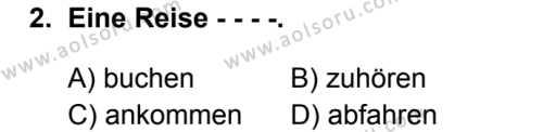 Almanca 5 Dersi 2019 - 2020 Yılı 1. Dönem Sınav Soruları 2. Soru