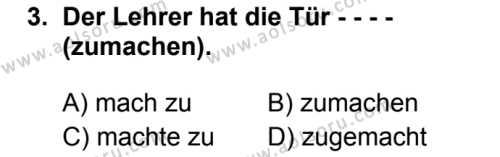 Almanca 5 Dersi 2019 - 2020 Yılı 1. Dönem Sınav Soruları 3. Soru