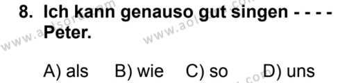 Almanca 5 Dersi 2019-2020 Yılı 1. Dönem Sınavı 8. Soru