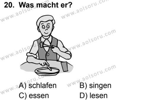 Almanca 5 Dersi 2019-2020 Yılı 1. Dönem Sınavı 20. Soru