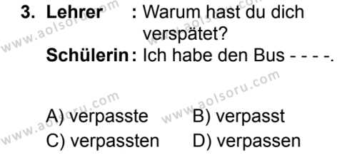 Almanca 5 Dersi 2019 - 2020 Yılı 2. Dönem Sınav Soruları 3. Soru