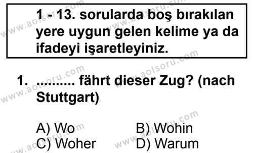 Almanca 6 Dersi 2011 - 2012 Yılı Ek Sınav Soruları 1. Soru