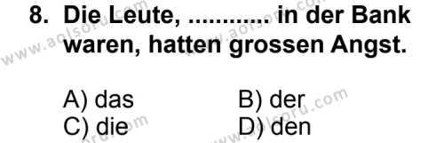Almanca 6 Dersi 2013-2014 Yılı 1. Dönem Sınavı 8. Soru