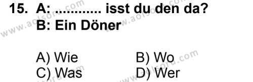 Almanca 6 Dersi 2013-2014 Yılı 1. Dönem Sınavı 15. Soru