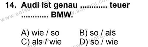 Almanca 6 Dersi 2014-2015 Yılı 1. Dönem Sınavı 14. Soru