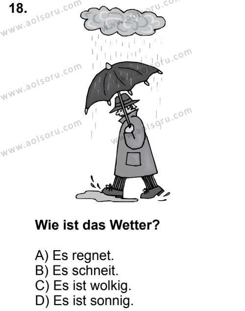 Almanca 6 Dersi 2014-2015 Yılı 1. Dönem Sınavı 18. Soru