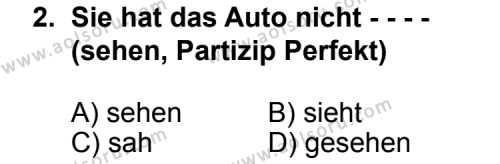 Almanca 6 Dersi 2014 - 2015 Yılı Ek Sınav Soruları 2. Soru
