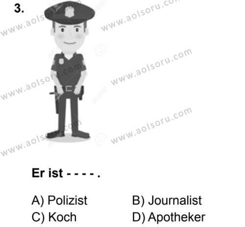 Almanca 6 Dersi 2019 - 2020 Yılı 1. Dönem Sınav Soruları 3. Soru