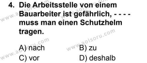 Almanca 6 Dersi 2019 - 2020 Yılı 1. Dönem Sınav Soruları 4. Soru