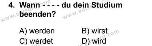 Almanca 6 Dersi 2019 - 2020 Yılı 2. Dönem Sınav Soruları 4. Soru