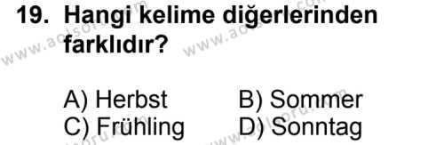 Almanca 7 Dersi 2011-2012 Yılı 1. Dönem Sınavı 19. Soru