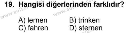 Almanca 7 Dersi 2012-2013 Yılı 1. Dönem Sınavı 19. Soru