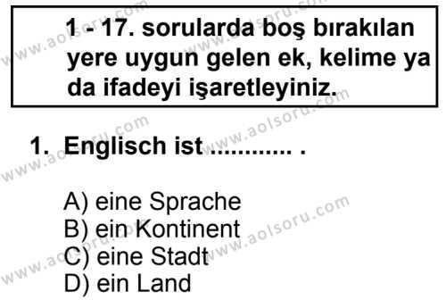 Almanca 7 Dersi 2013 - 2014 Yılı 3. Dönem Sınav Soruları 1. Soru
