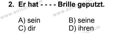 Almanca 7 Dersi 2014 - 2015 Yılı Ek Sınav Soruları 2. Soru