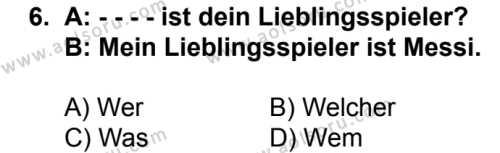 Almanca 7 Dersi 2016-2017 Yılı 1. Dönem Sınavı 6. Soru
