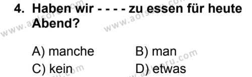 Almanca 7 Dersi 2019 - 2020 Yılı 1. Dönem Sınav Soruları 4. Soru