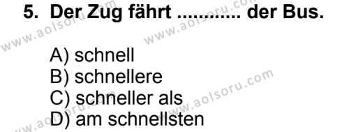 Almanca 8 Dersi 2011-2012 Yılı 1. Dönem Sınavı 5. Soru