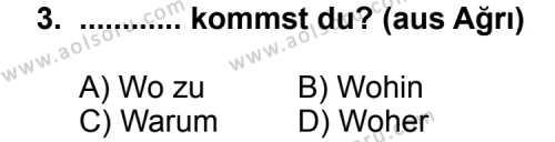 Almanca 8 Dersi 2011 - 2012 Yılı Ek Sınav Soruları 3. Soru
