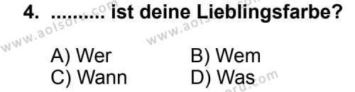 Almanca 8 Dersi 2014-2015 Yılı 1. Dönem Sınavı 4. Soru