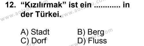 Almanca 8 Dersi 2014-2015 Yılı 1. Dönem Sınavı 12. Soru