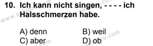 Almanca 8 Dersi 2016-2017 Yılı 1. Dönem Sınavı 10. Soru