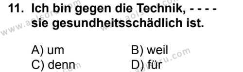 Almanca 8 Dersi 2018-2019 Yılı 1. Dönem Sınavı 11. Soru