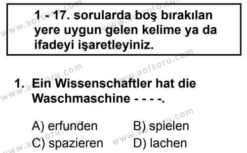 Almanca 8 Dersi 2019 - 2020 Yılı 1. Dönem Sınav Soruları 1. Soru