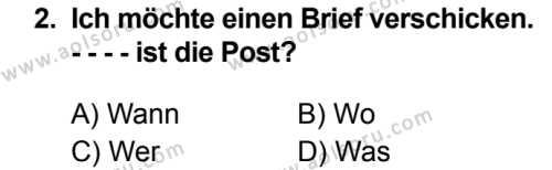 Almanca 8 Dersi 2019 - 2020 Yılı 1. Dönem Sınav Soruları 2. Soru