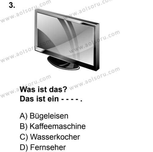 Almanca 8 Dersi 2019 - 2020 Yılı 1. Dönem Sınav Soruları 3. Soru