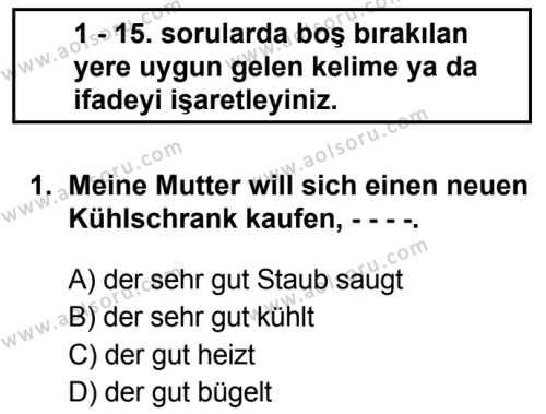 Almanca 8 Dersi 2019 - 2020 Yılı 2. Dönem Sınav Soruları 1. Soru