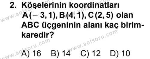 Analitik Geometri 1 Dersi 2011-2012 Yılı 1. Dönem Sınavı 2. Soru