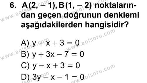 Analitik Geometri 1 Dersi 2011-2012 Yılı 1. Dönem Sınavı 6. Soru