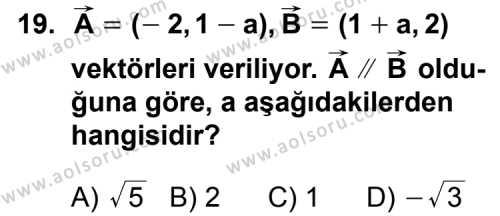 Analitik Geometri 1 Dersi 2011-2012 Yılı 1. Dönem Sınavı 19. Soru