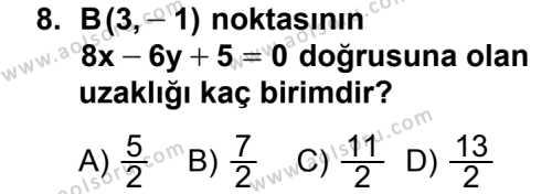 Analitik Geometri 1 Dersi 2012-2013 Yılı 1. Dönem Sınavı 8. Soru