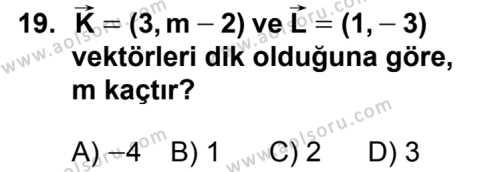 Analitik Geometri 1 Dersi 2012-2013 Yılı 1. Dönem Sınavı 19. Soru