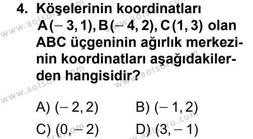 Analitik Geometri 1 Dersi 2013 - 2014 Yılı 1. Dönem Sınav Soruları 4. Soru