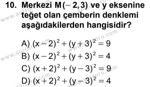 Analitik Geometri 1 Dersi 2013-2014 Yılı 1. Dönem Sınavı 10. Soru