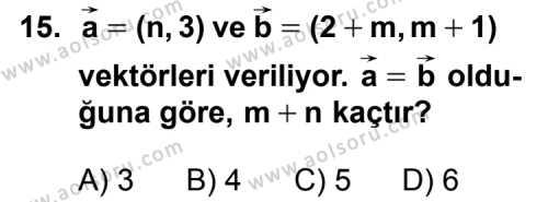 Analitik Geometri 1 Dersi 2013-2014 Yılı 1. Dönem Sınavı 15. Soru